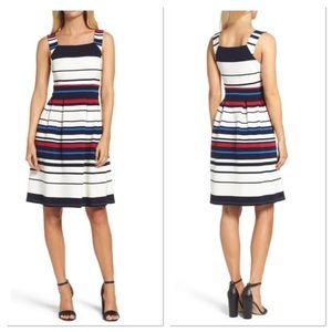 Adrianna Papell Striped Fit & Flare Dress